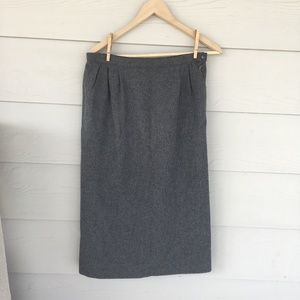 VINTAGE Grey Wool Pendleton Pencil Skirt
